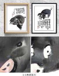 中国风猪水墨装饰画