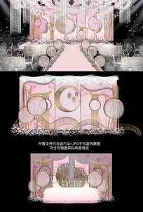 中式粉色唯美桃花婚礼背景效果图
