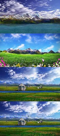 动画动态美丽的青藏高原景色视频素材