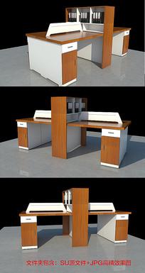 办公桌模型效果图