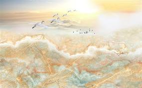日出飞鸟流水生财大理石纹背景墙