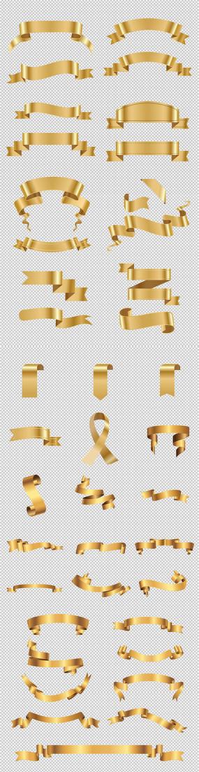 金色标签彩带元素