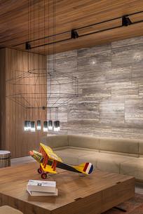 现代前卫风格的客厅模型飞机