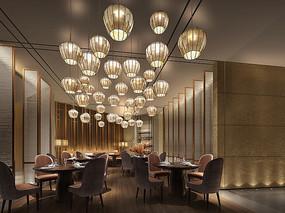 中式餐厅餐间效果