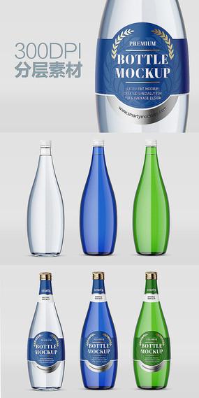 玻璃矿泉水瓶样机效果图