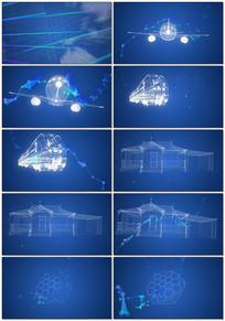 科技?#34892;?#24187;网格飞机高铁视频素材