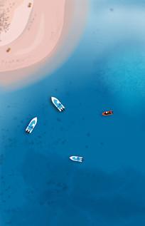 夏日沙滩海滩快艇插画