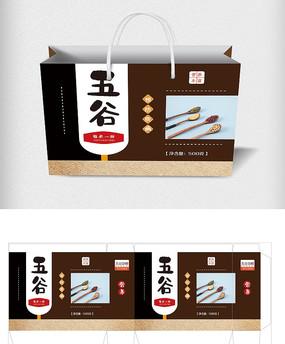 简约五谷杂粮包装手提礼盒设计模板