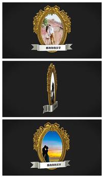 金色相框婚纱照相册ae模板