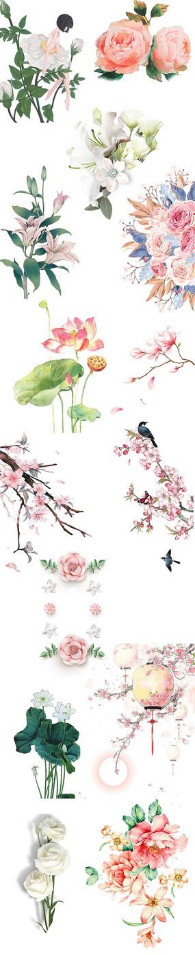 手绘花素材png中国风