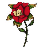 原创元素手绘带刺玫瑰