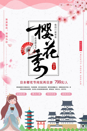 日本樱花季旅游海报