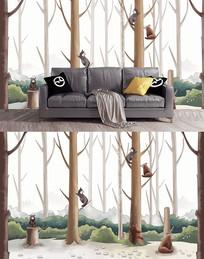 森林里的小动物电视背景墙