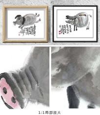 奔跑小猪装饰画