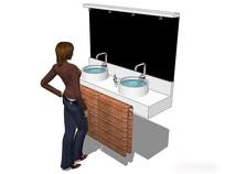白色极简风格洗手台模型