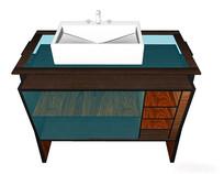 玻璃拼接洗手台
