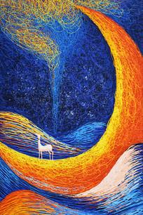 高清抽象手绘弯月麋鹿油画