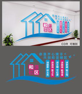 和谐社区党建展板设计 CDR