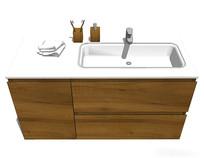 极简木质洗手台模型