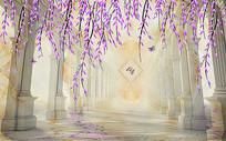 欧式罗马柱紫色花藤电视背景墙