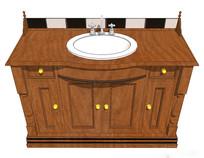 深木色洗手台模型