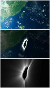 卫星地图画出宝岛轮廓视频素材