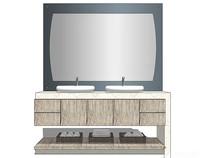 现代木色双人洗手台