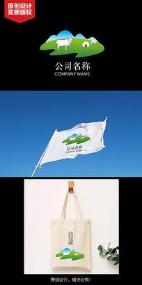 草原放牧元素LOGO设计