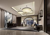 淡雅风酒店大厅3D模型
