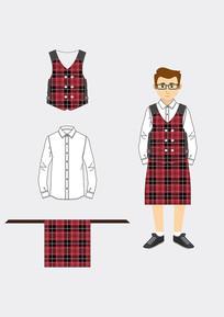 格子围裙套装设计