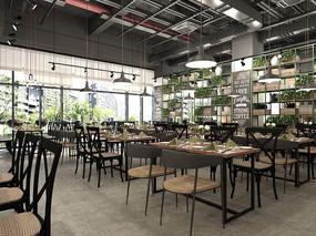 工业风西餐厅装饰架组合