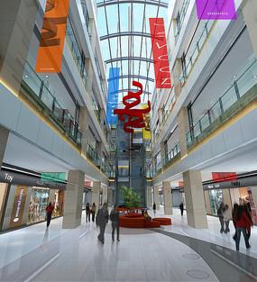 工装大型商场一层3D模型