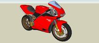 红色重型机车SU模型