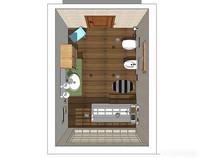 木质铺装浴室场景