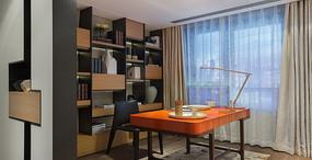 这橙色系的书房