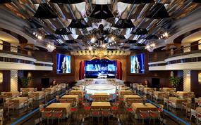 带舞台现代餐厅3D