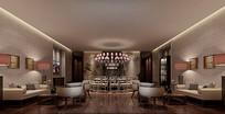 淡雅中式古典餐厅大包房3D