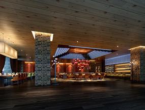 古典中式餐厅大厅3D