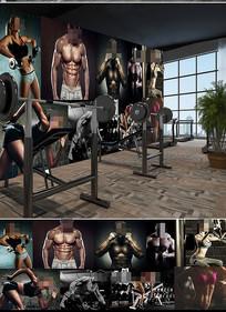 健身美女照片墙工装背景墙