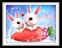 卡通兔子胡萝卜装饰画