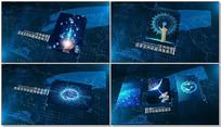 蓝色科技图文照片展示AE模版