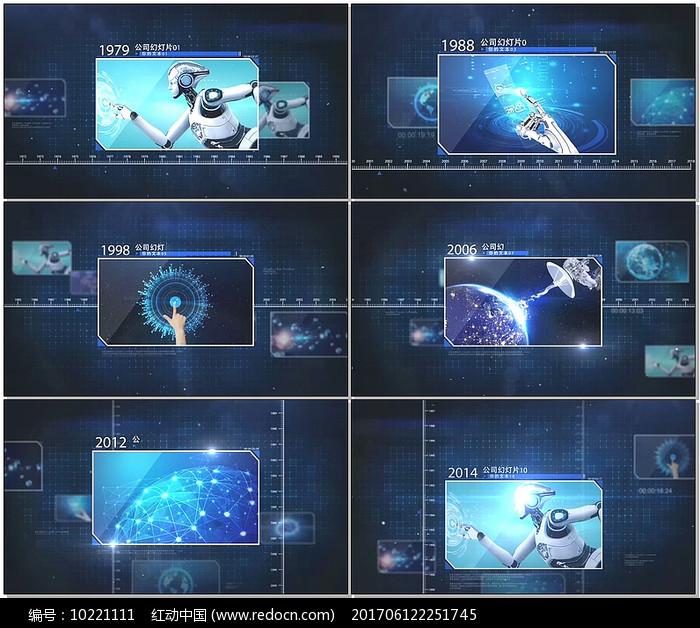 企业时间线科技照片展示AE视频模版图片