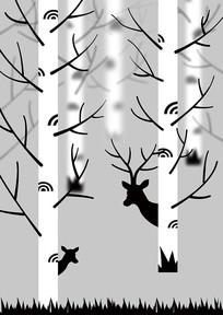 手绘白桦林与鹿插画PSD