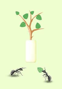 手绘绿植静物蚂蚁插画PSD