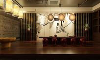 中式喝茶餐厅3D模型