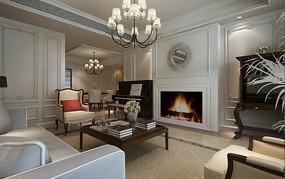 白墙现代客厅3D模型