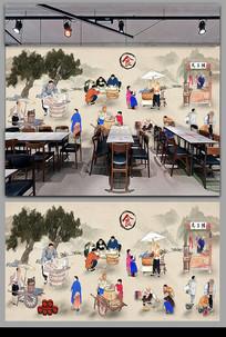 传统美食背景墙