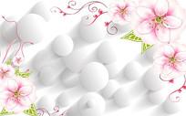 粉色花朵圆球3D背景墙