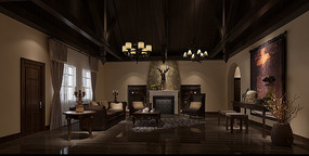 复古黑暗系家装客厅3D
