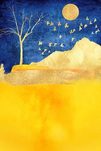 金色新中式飞鸟水墨山水装饰画
